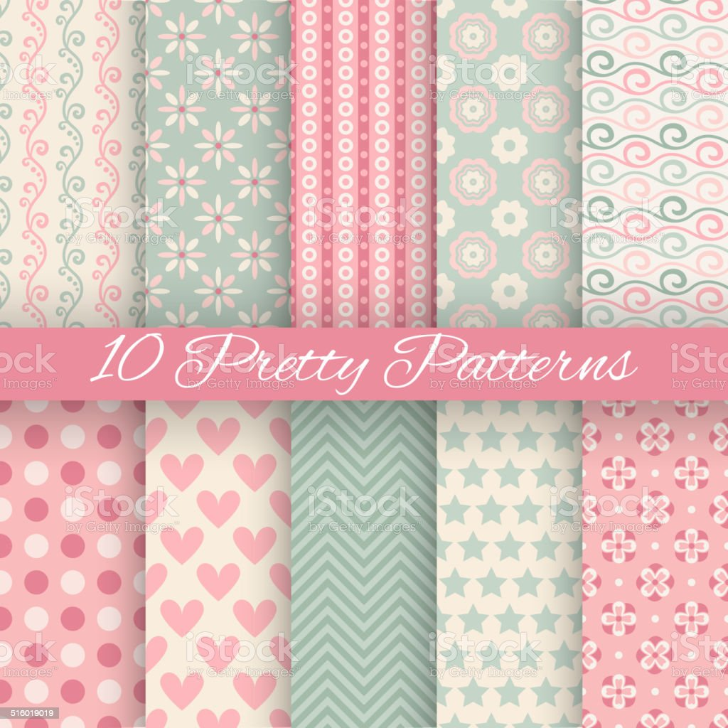 Pretty pastel vector seamless patterns (tiling, with swatch) vector art illustration