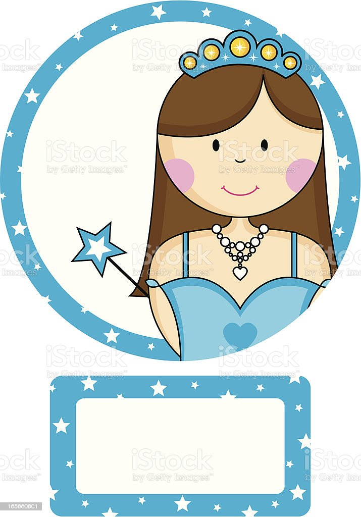 Pretty Princess With Wand Invite and RSVP Card. royalty-free stock vector art