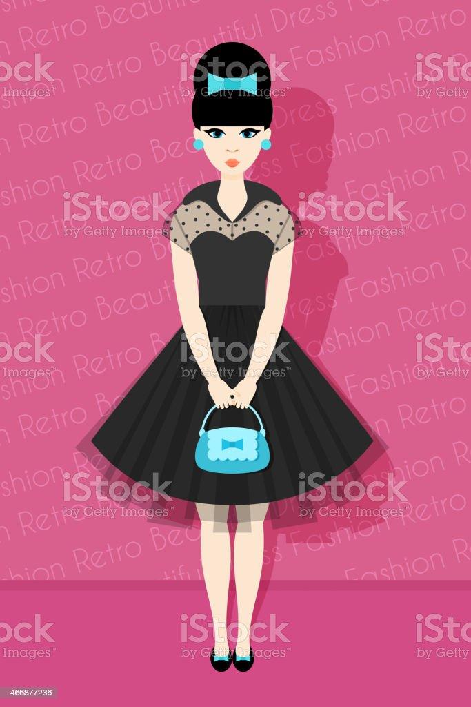 Pretty Retro Girl in Flat Style vector art illustration