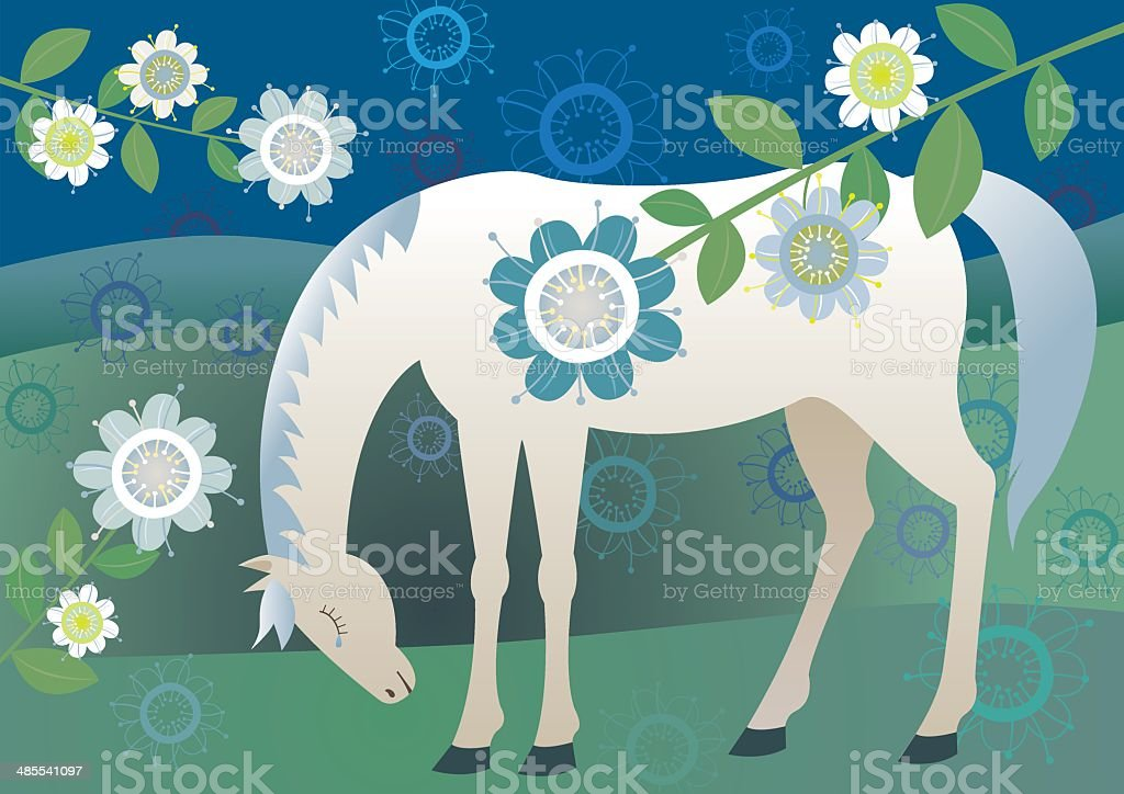 Pretty sad horse royalty-free stock vector art