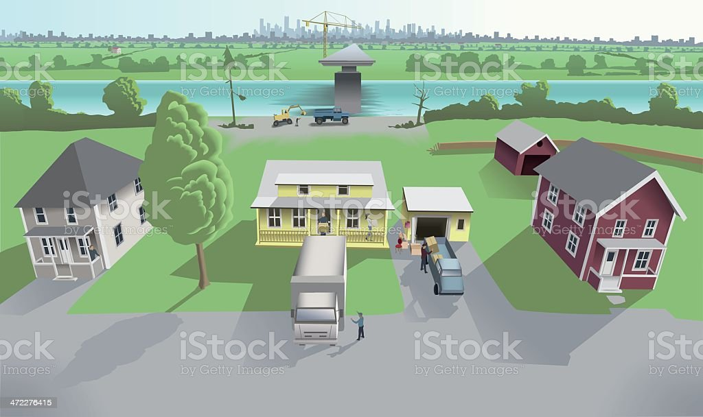 Pretty suburban houses in danger royalty-free stock vector art