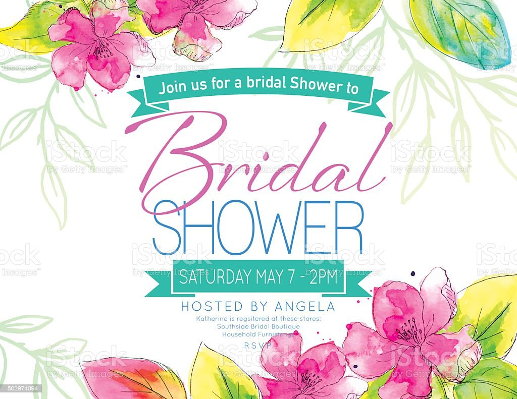 Pretty Watercolor Flowers Bridal Shower Party Invitation Template vector art illustration