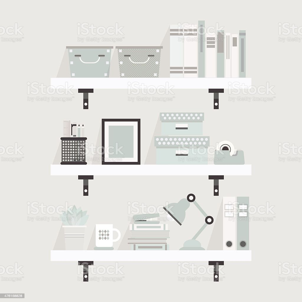 Pretty white and teal shelves and decoration objects vector art illustration