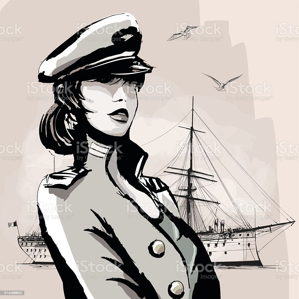Pretty woman in marine officer uniform vector art illustration