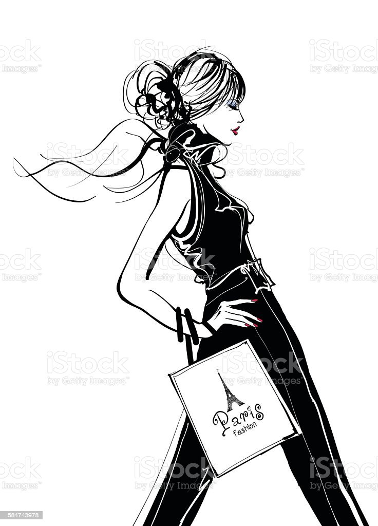 Pretty Woman shopping in Paris vector art illustration