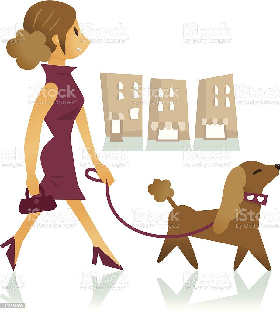 pretty woman walking a dog royalty-free stock vector art
