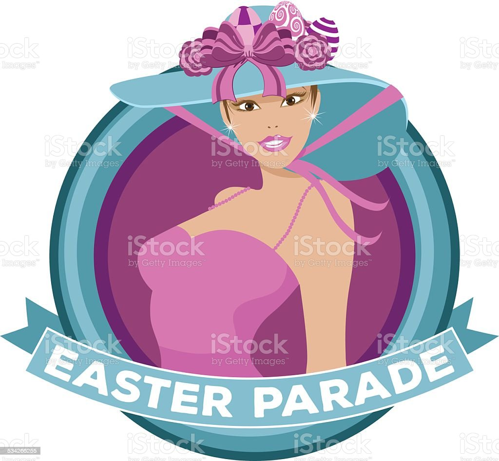 Pretty woman wearing Easter bonnet parade icon vector art illustration