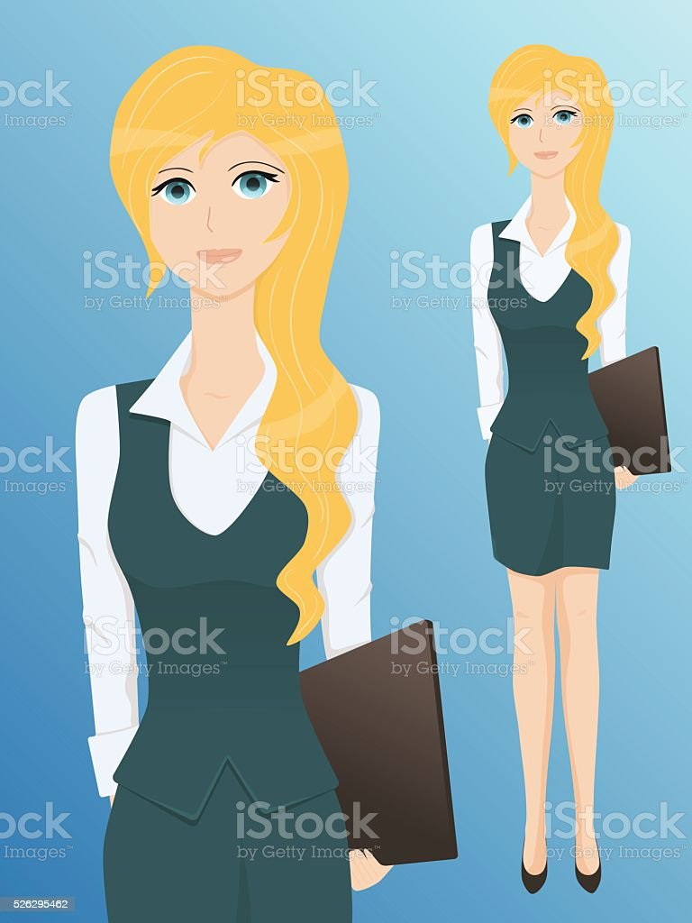 Pretty young business woman with a folder vector art illustration