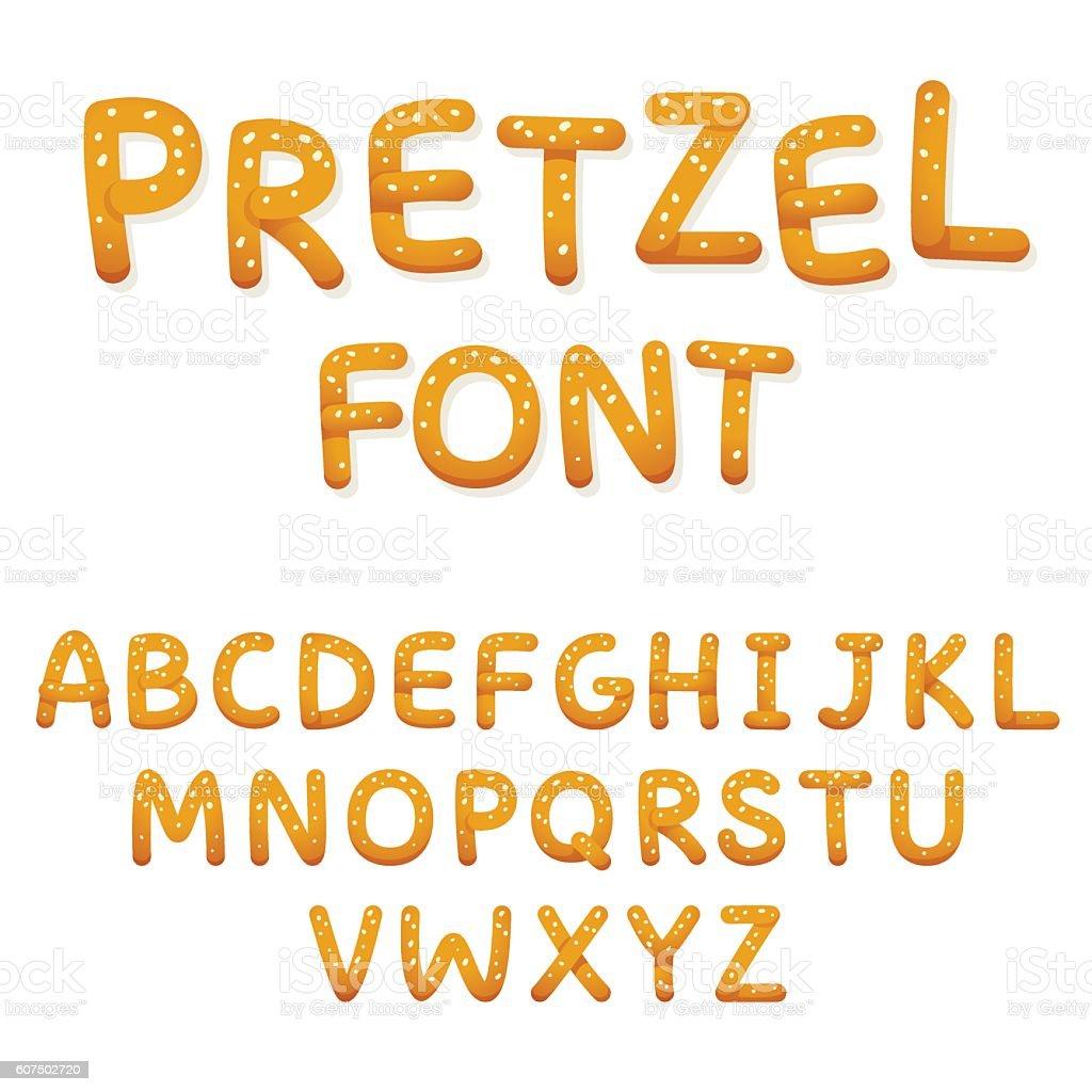Pretzel alphabet letters vector art illustration