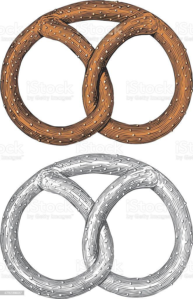 Pretzel in engraving style royalty-free stock vector art