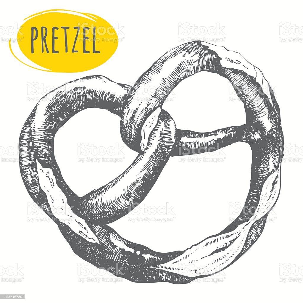 Pretzel. Oktoberfest food. Traditional beer snack. vector art illustration