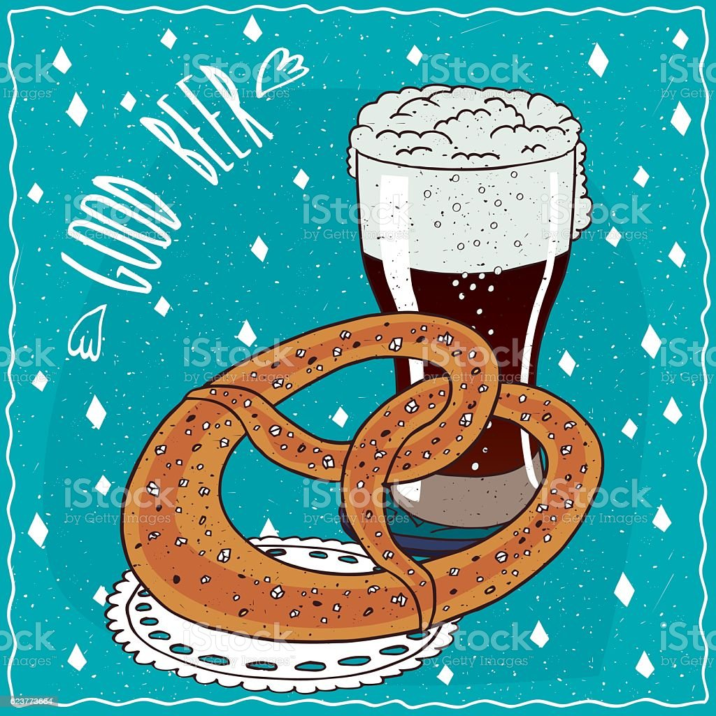 Pretzel or kringle with glass of stout or porter vector art illustration