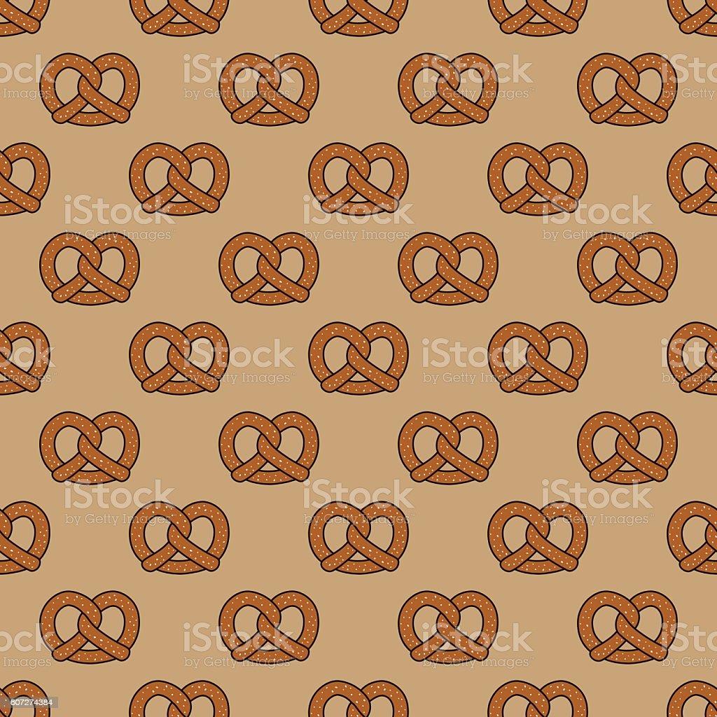 Pretzel seamless pattern vector art illustration