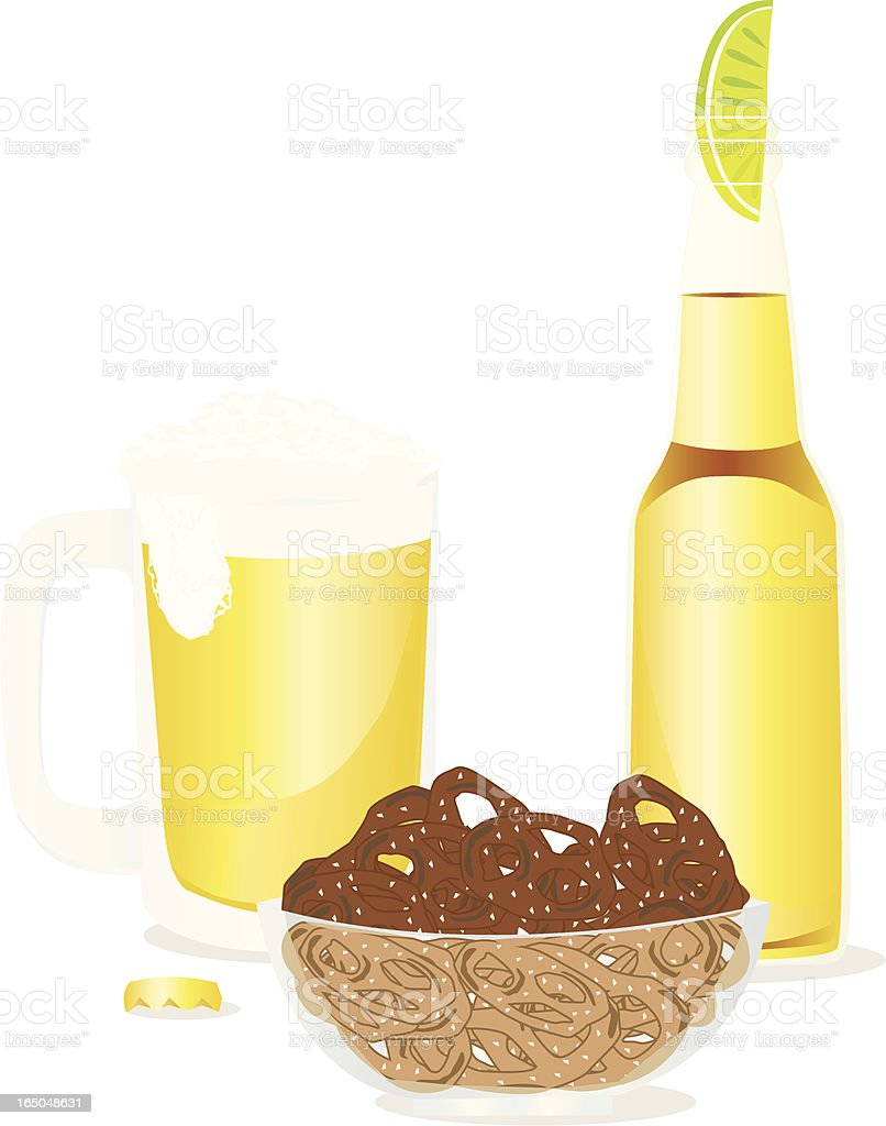 Pretzels and Beer royalty-free stock vector art