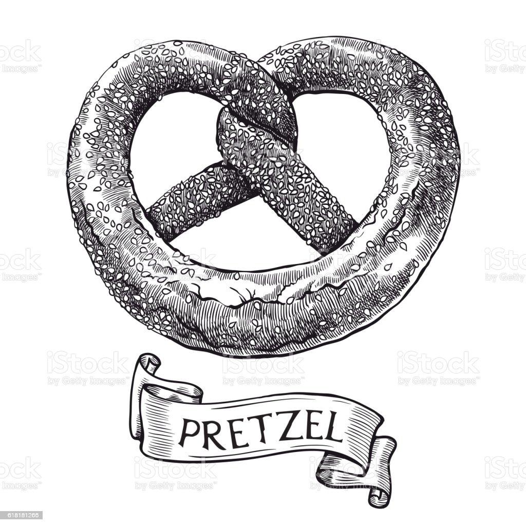 Pretzels. Vector sketch vector art illustration