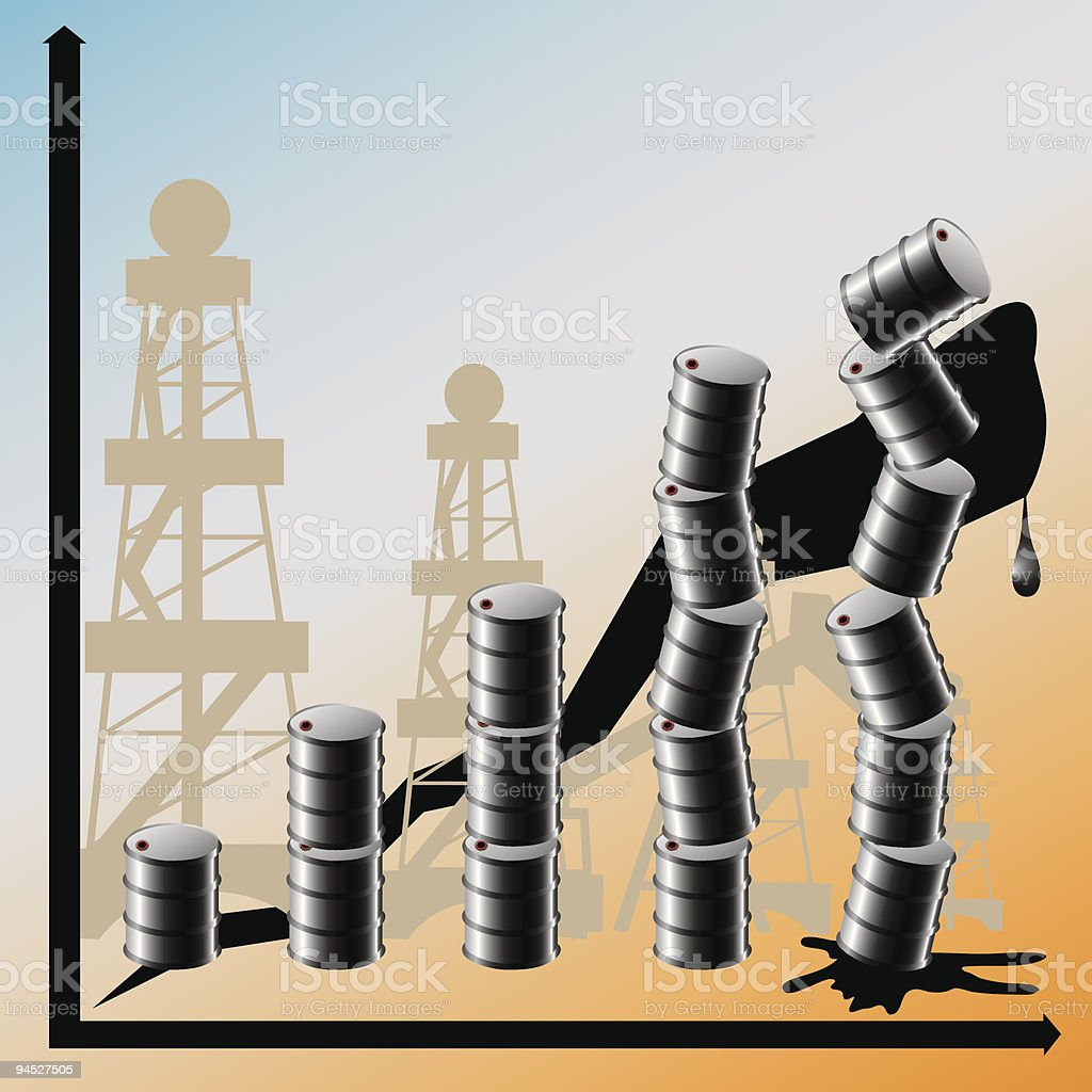 Price advance on oil conduces to the global crisis. royalty-free stock vector art