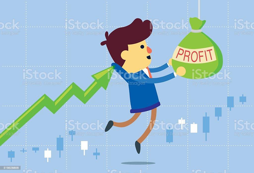 Price arrow get investor to take profit bag vector art illustration