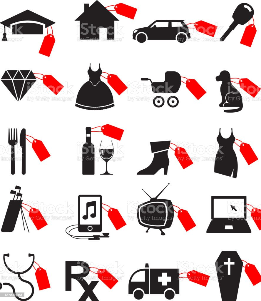 Price of Life black and white royalty-free vector icon set royalty-free stock vector art