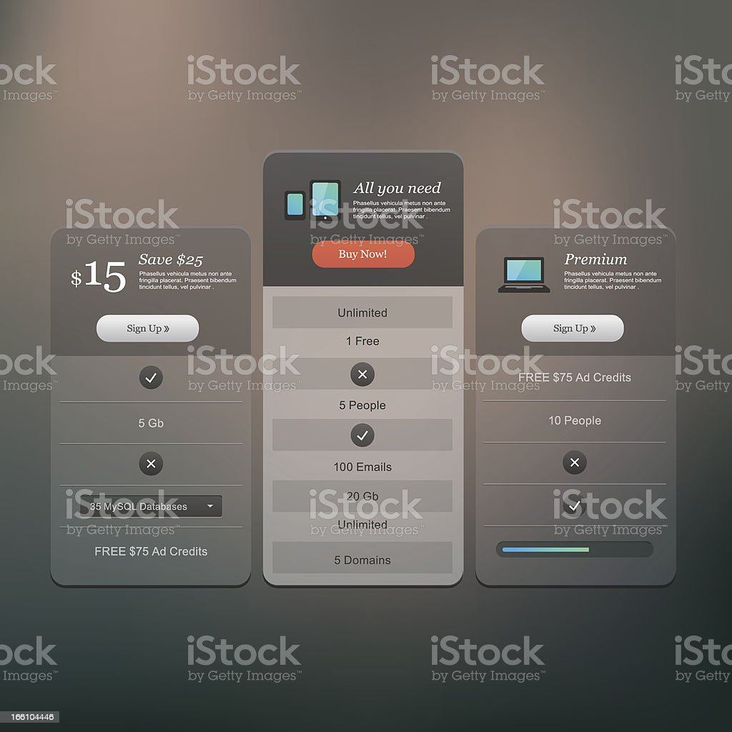 Price table vector art illustration