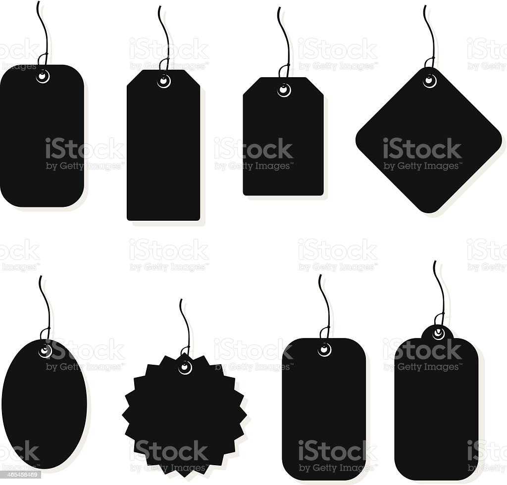 Price Tags and Labels Silhouettes vector art illustration