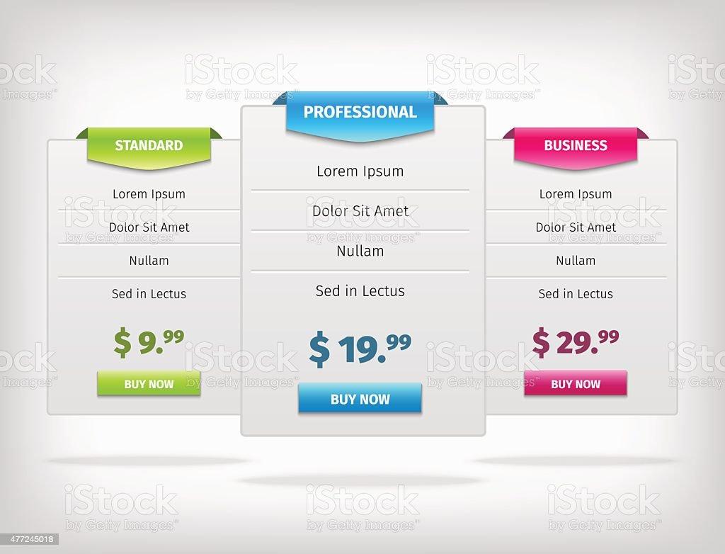 pricing hosting banner plans table vector art illustration