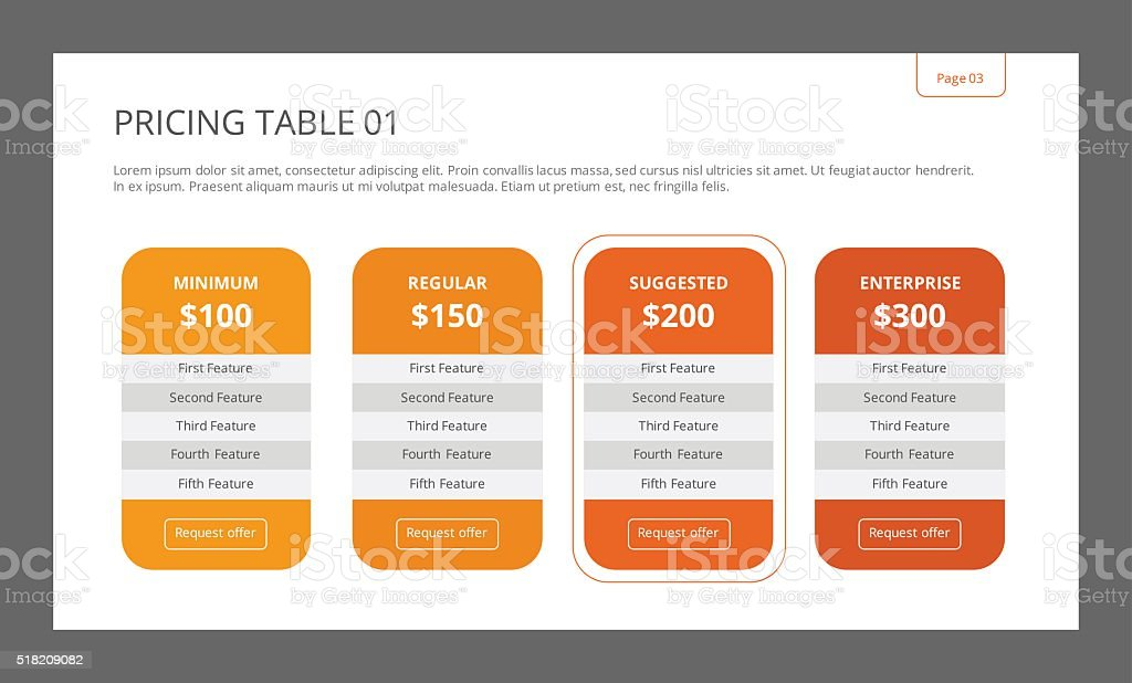 Pricing Table Template 1 vector art illustration