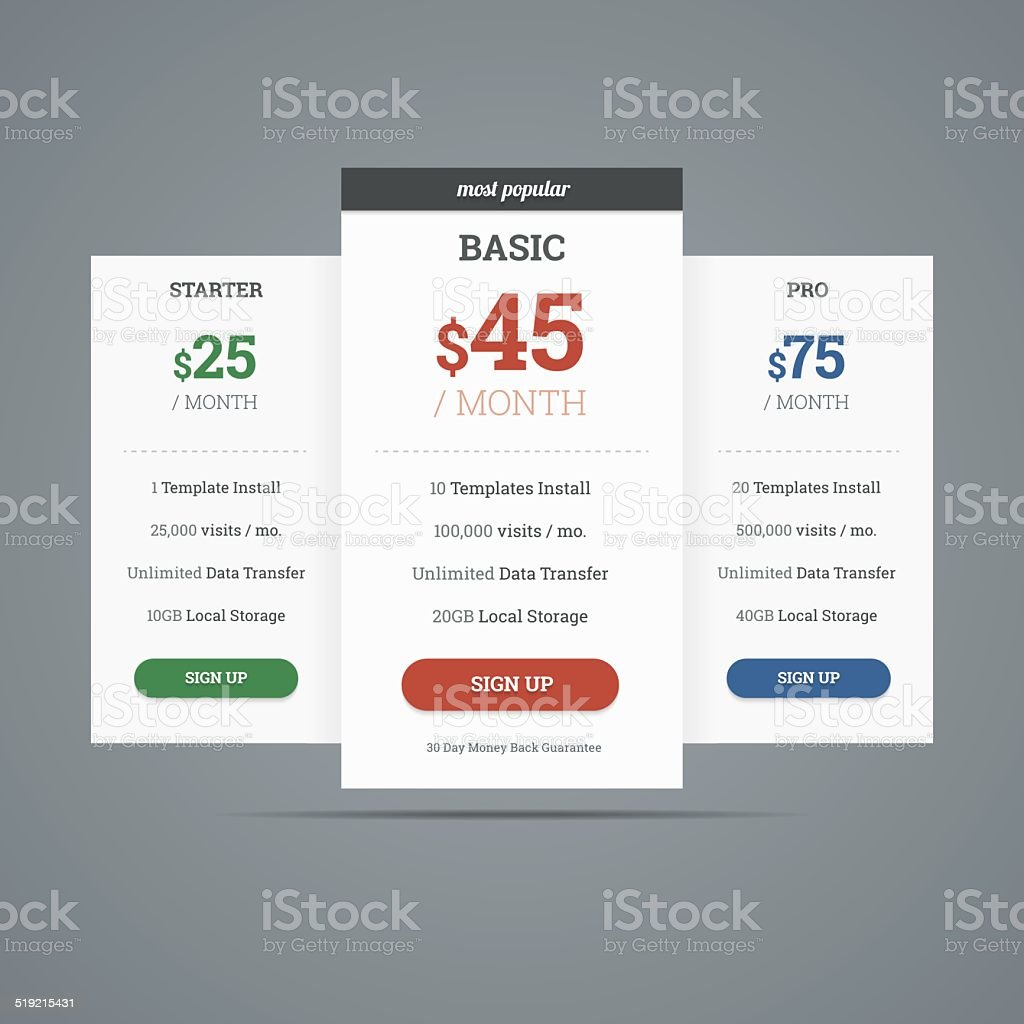 Pricing table with three plans for websites. vector art illustration