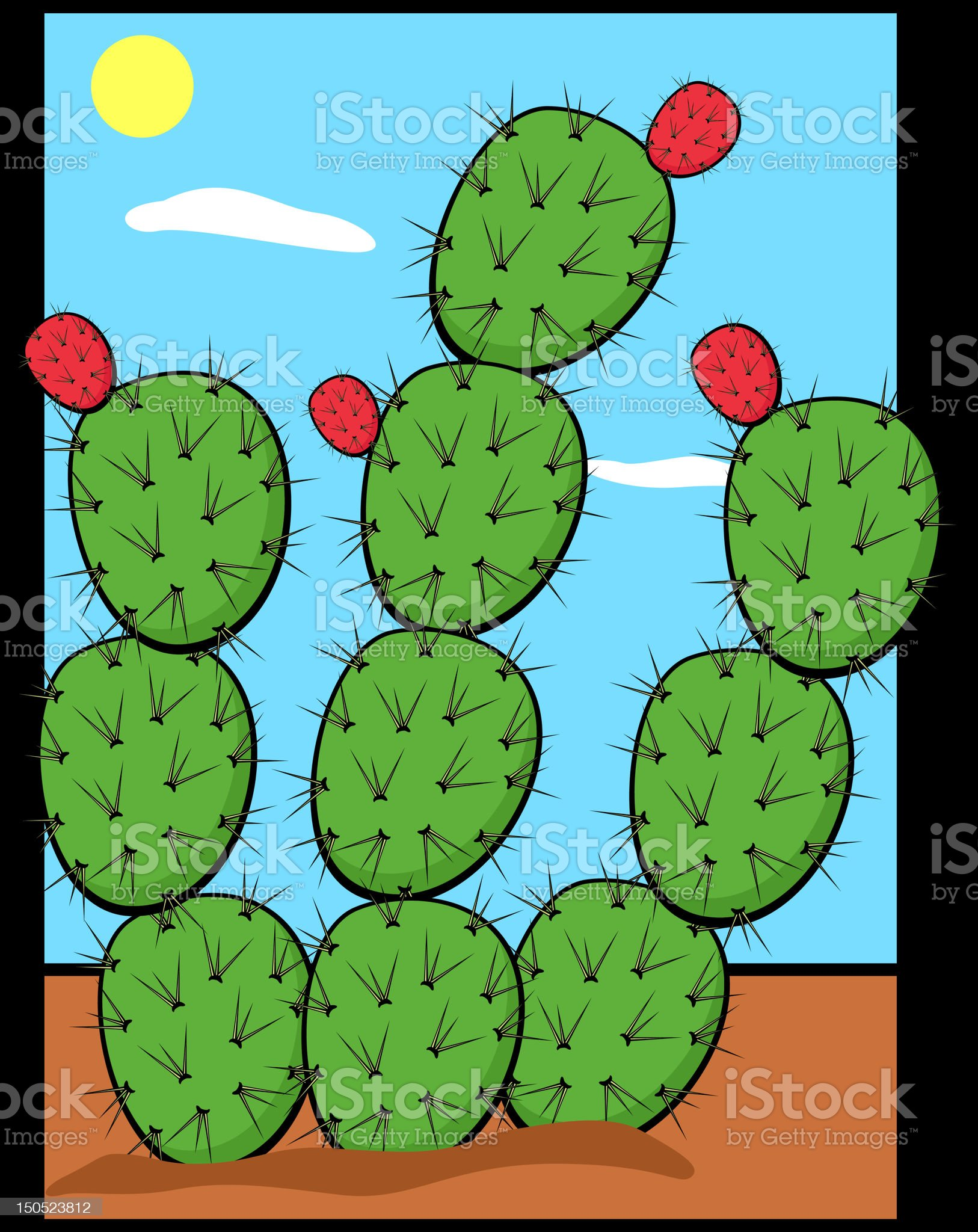 prickly pear or nopal plant royalty-free stock vector art