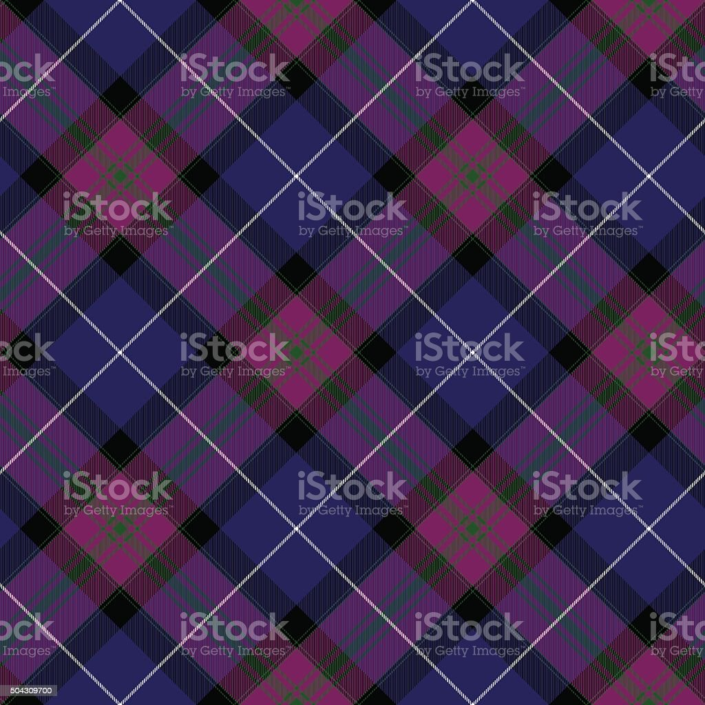 Pride of scotland tartan fabric diagonal texture seamless background vector art illustration