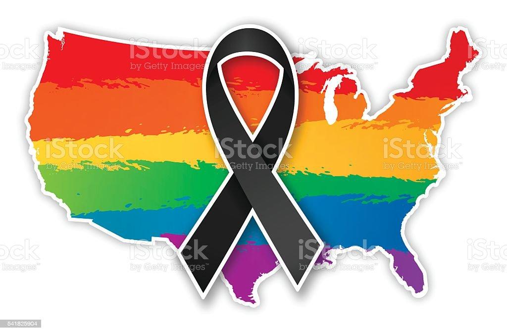 USA Pride Ribbon Map vector art illustration