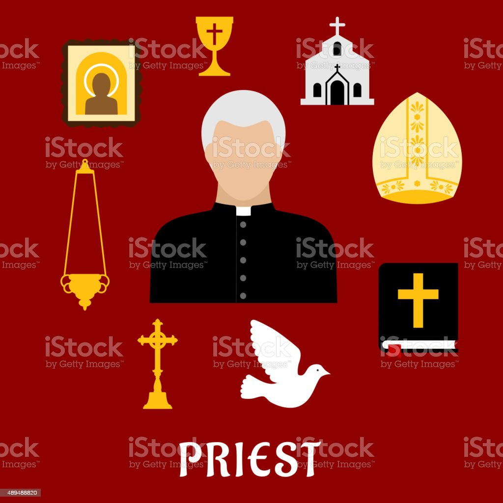 Priest and religious flat icons or symbols vector art illustration