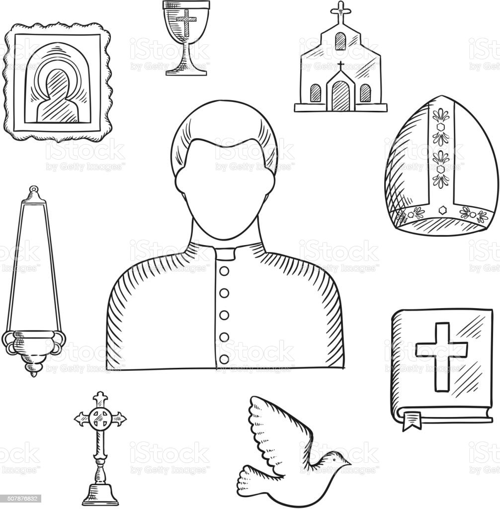 Priest and religious icons or symbols, sketch vector art illustration