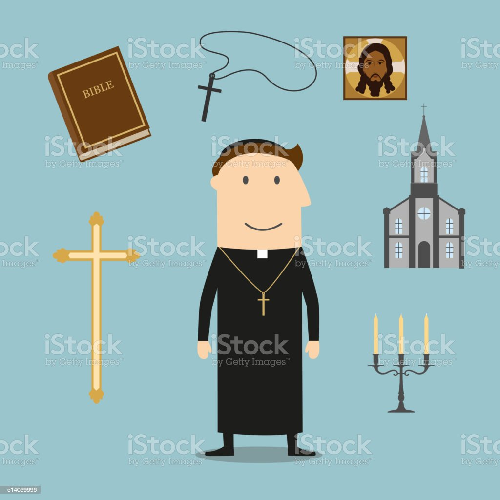 Priest and religious icons or symbols vector art illustration