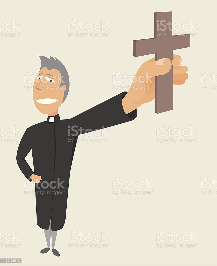 Priest holding cross / Holy occupation royalty-free stock vector art