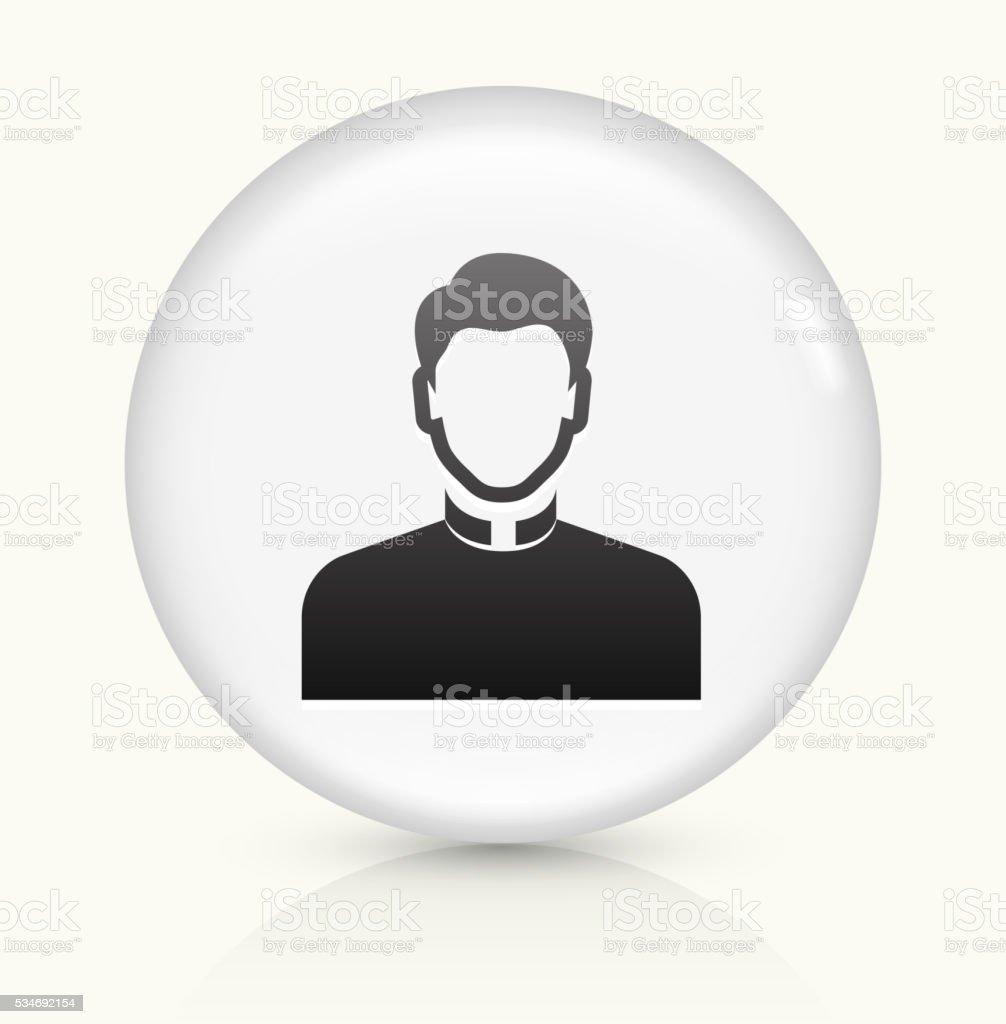 Priest icon on white round vector button vector art illustration