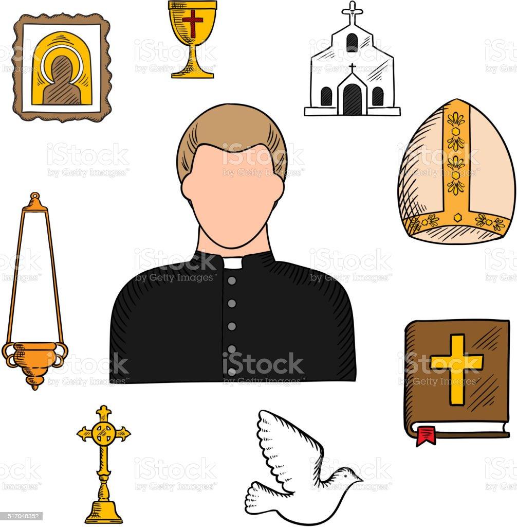 Priest profession with religious symbols vector art illustration