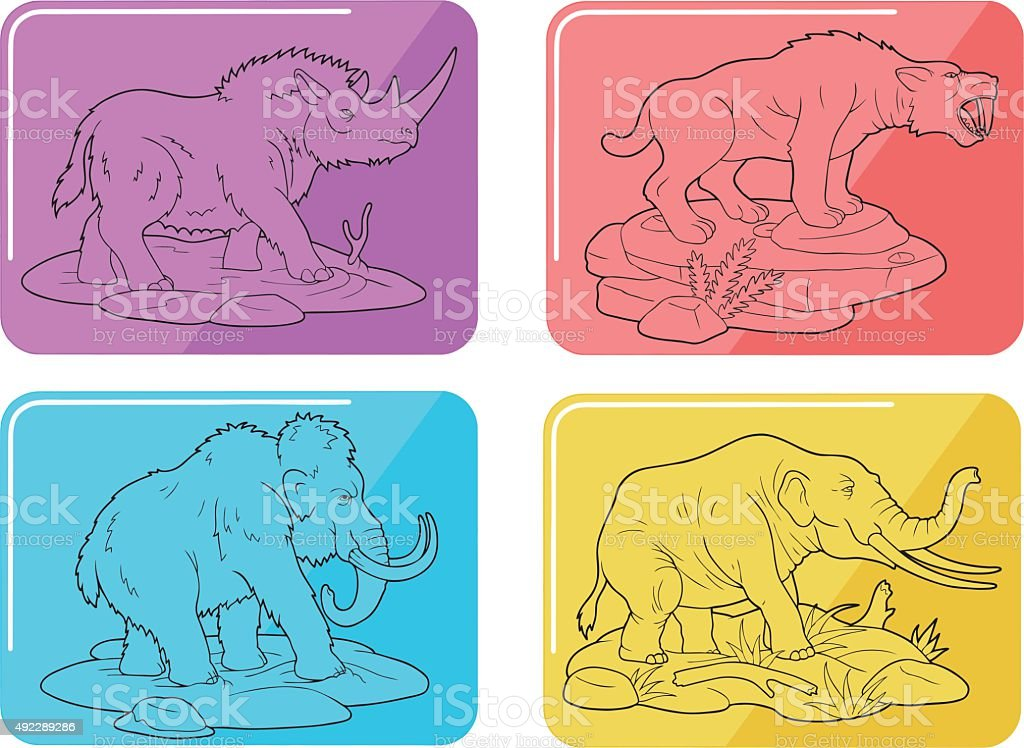 primal animals vector art illustration