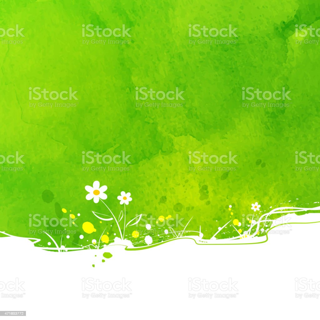 Primarily green background with a few flowers express summer vector art illustration