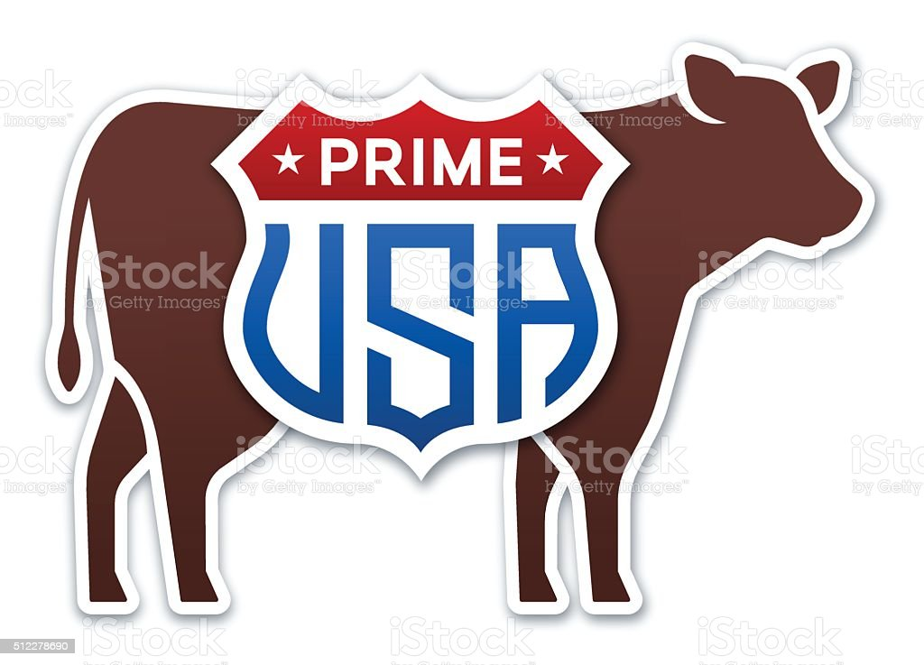 USA Prime Beef Cow vector art illustration