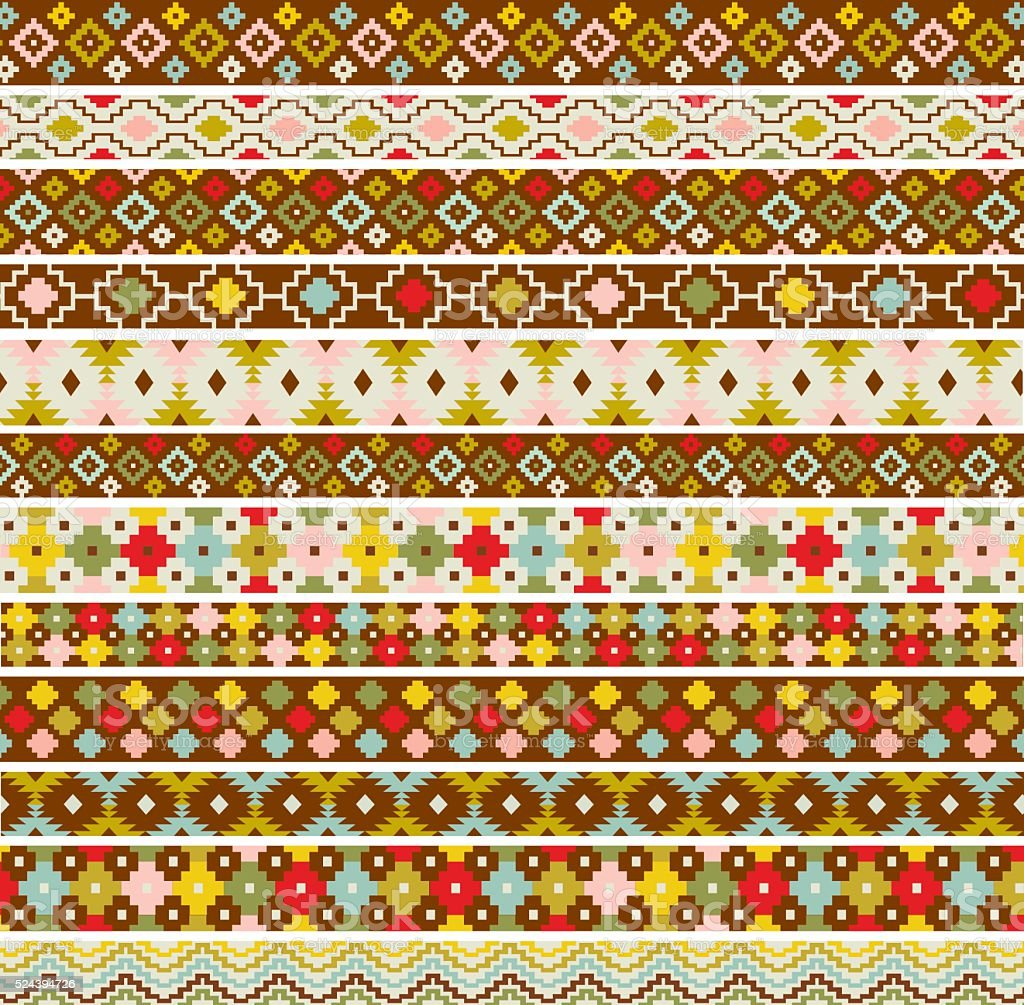 primitive border patterns vector art illustration