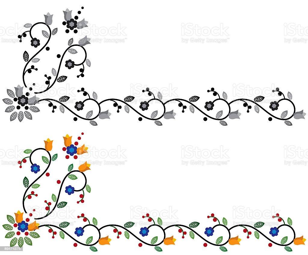 Primitive Floral Corner royalty-free stock vector art