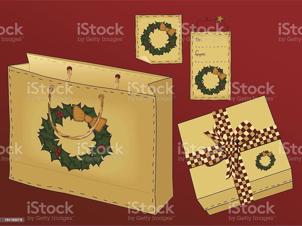 Primitive Folk Art Gift Set royalty-free stock vector art