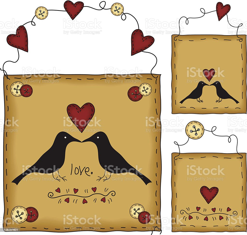 Primitive Folk Art Valentine Gift Tag Set (with JPG) royalty-free stock vector art