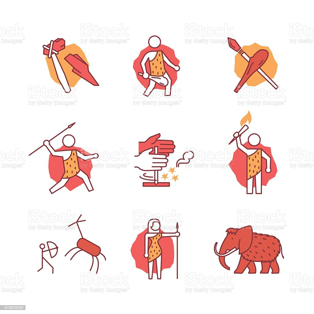 Primitive prehistoric caveman of ice age signs set vector art illustration