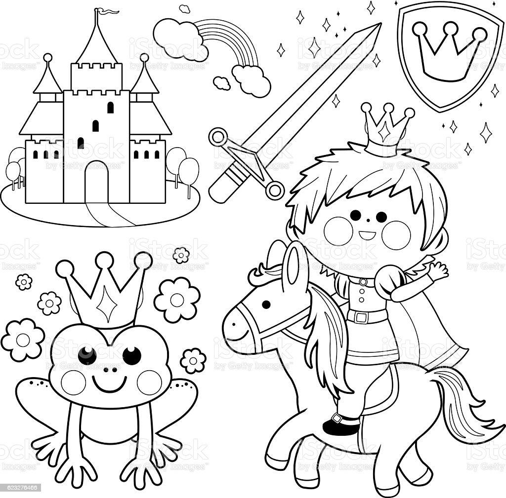 prince riding a horse fairytale set coloring page stock vector art