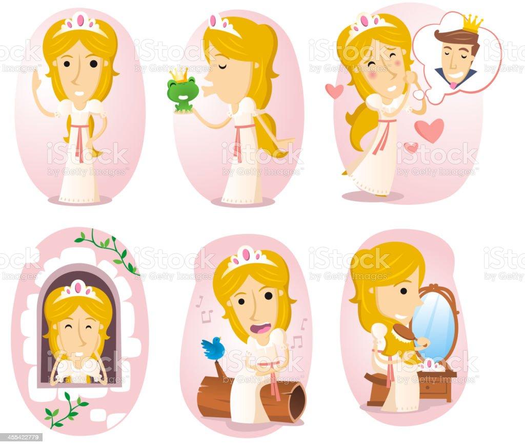 Princess action set royalty-free stock vector art