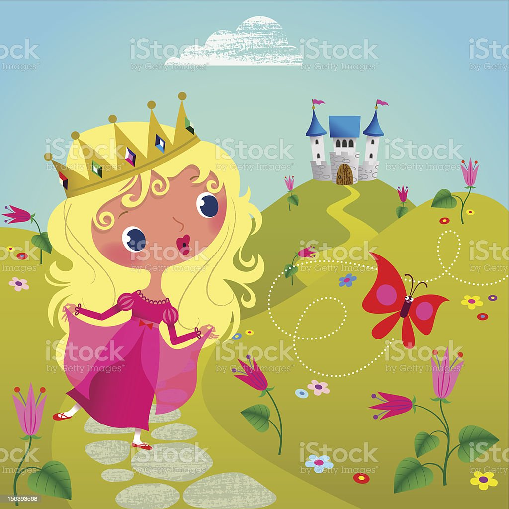 Princess and Butterfly. vector art illustration