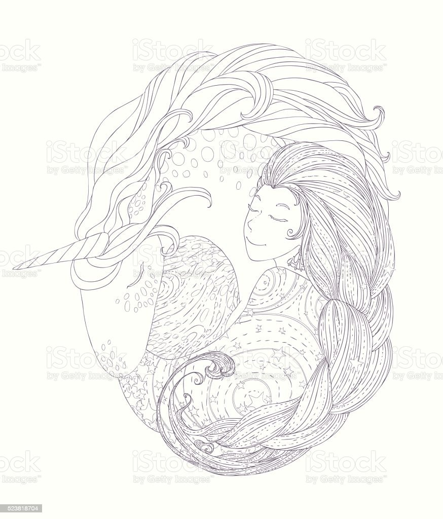 Princess unicorn coloring - Princess And Unicorn In Circular Framework For Coloring Book Royalty Free Stock Vector Art