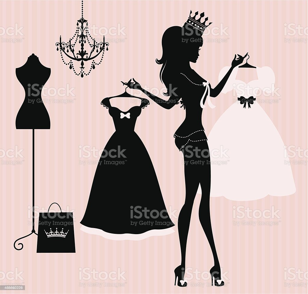 Princess Dresses vector art illustration