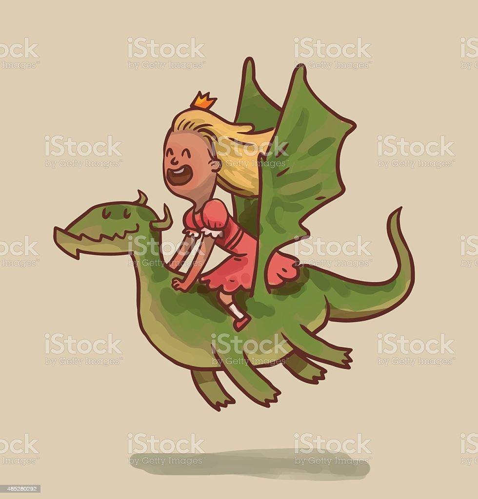 Princess flies on a dragon vector art illustration